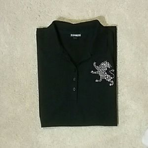 Express women's short sleeve polo shirt, size M